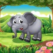 A smiling elephant at the forest — Stock Vector #40943469