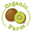 An organic farm label with a kiwi — Stock Vector #40943521
