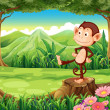 A monkey standing above the stump — Stock Vector