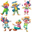 Stock Vector: Group of clowns