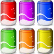 Six colorful soda cans — Stock Vector