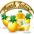 Постер, плакат: Fresh juice label with pineapples