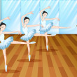 Stock Vector: Three ballet dancers inside the studio