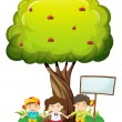 Stock Vector: Three kids under tree with empty signboard