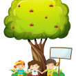 Three kids under tree with empty signboard — Stock Vector #40945195