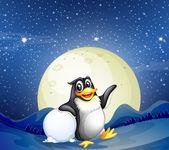 A penguin beside the snowball — Stock Vector