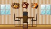 Stuffed animal decors inside the house — Stock Vector