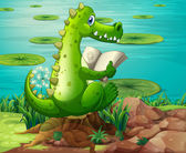 A crocodile reading near the pond — Stock Vector