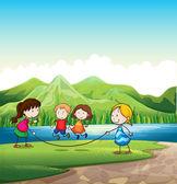 Vier kinder mit einem seil am fluss spielen — Stockvektor