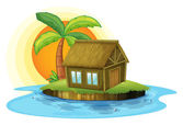 An island with a bamboo house — Stock Vector