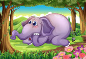 A sad elephant at the forest — Stock Vector
