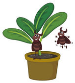 A plant with two playful insects — Stock Vector