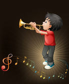 A young man playing with his trombone — Stock Vector