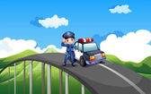 A policeman and his patrol car in the middle of the road — Stock Vector