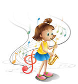 A talented child with a saxophone — Stock Vector