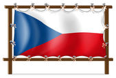 The flag of Czech Republic attached to the wooden frame — Stock Vector