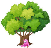A poisoned pink monster under the tree — Stock Vector