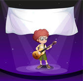 A boy at the stage with an empty banner at the back — Stock Vector