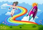 A superhero above the rainbow and a rocket — Stock Vector