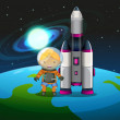 An explorer beside the rocket standing above the earth — Stock Vector