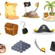 Things related to a pirate — Stock Vector