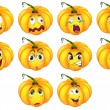 Постер, плакат: Ten pumpkins with different emotions