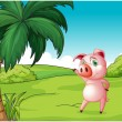 A pig near the coconut tree — Stock Vector