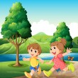 Happy and energetic kids playing near the river — Stock Vector
