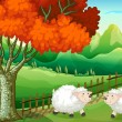Two sheeps under the tree — Stock Vector