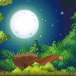 A green forest and a bright fullmoon — Stock Vector