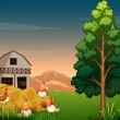 A group of chickens near the hays at the farm — Stock Vector