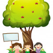 Three kids standing under the tree with an empty signboard — Stock Vector