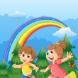 Kids playing near the garden with a rainbow in the sky — Stock Vector