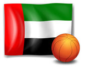 The flag of United Arab Emirates with a ball — Stock Vector
