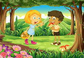 Two kids in the middle of the forest — Stock Vector