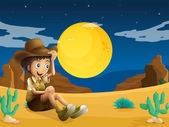 A young explorer at the dessert — Stock Vector