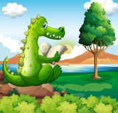 A crocodile sitting above the rock while reading near the river — Stock Vector
