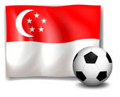 A soccer ball in front of the flag of Singapore — Stock Vector
