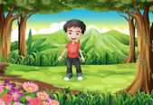 A handsome boy at the forest — Stock Vector