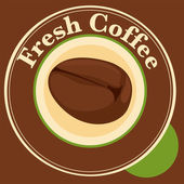 A fresh coffee label with coffee bean — Stock Vector