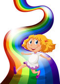 A young girl playing at the rainbow — Stock Vector
