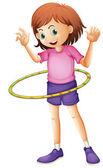 A young girl playing hulahoop — 图库矢量图片