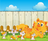 A tiger and a group of rats at the backyard — Stock Vector