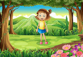 A smiling little girl at the forest — Stock Vector