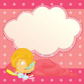 A girl sleeping with an empty cloud callout — Stock Vector
