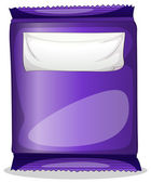 A purple chips container with an empty label template — Stock Vector