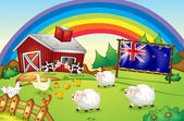 A farm with a rainbow and a framed flag of New Zealand — Stock Vector