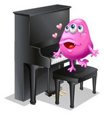 A monster playing with the piano — Stock Vector