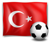 The flag of Turkey with a soccer ball — Stock Vector