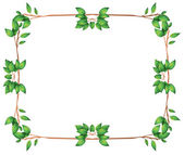 An empty frame with green leafy borders — Stock Vector